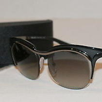 Prada Women Spr68o 49 17 5av-3m1 Gunmetal Black Gradient Plastic Sunglasses New Photo