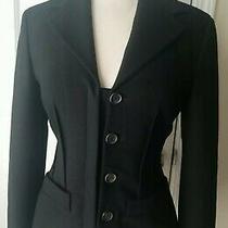 Prada Womens Black Wool Blazer 3 Button Jacket 40 Italy Photo