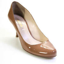 Prada Womens Leather Almond Toe Heel Pump Sandals Beige Size 38 European Photo