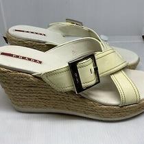 Prada Womens Patent Leather Espadrille Ivory Wedge Sandal Sz Euro-38 1/2 Us-8 Photo