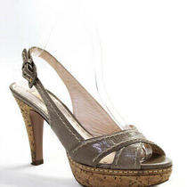 Prada Womens Platform Slingback Sandals Gray Leather Size 38 Photo