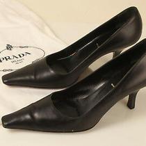 Prada Womens Pumps Heels Size 36.5 U.s 5.5 Black Leather Pointed Toe Italy.  Photo