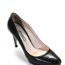 Prada Womens Rounded Toe Black Leather Pumps Heels Size Eur 38.5 Photo