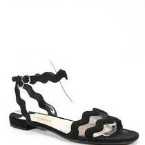 Prada Womens Scalloped Mesh Trim Ankle Strap Sandals Black Suede Size 37.5 Photo