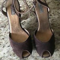 Prada Womens Shoes Heels Brown Suede Ankle Strap Wood Bottom Sz 38 Photo