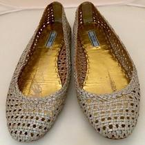 Prada Womens Tan Wicker Woven Leather Ballet Casual Flat Slip-on Shoe 38 Us 8 Photo