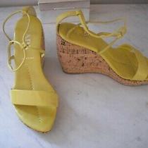 Prada Womens Yellow Cork Wedge Sandal Size Eu 37 Photo
