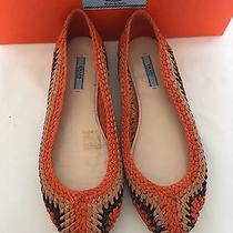 Prada Woven Leather Ballerina Flats Orange Shoes Bnib Uk 4 Eu 37 Photo