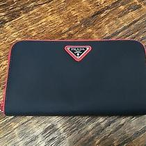 Prada Zip Around Wallet Black With Red Trim Photo