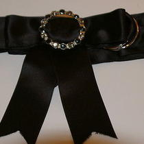 Prairie New York Black Satin O Ring Ribbon Belt W/ Rhinstone Embellished Detail Photo