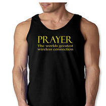 Prayer the Worlds Greatest Wireless Connection T-Shirt Cool Faith Men's Tank Top Photo