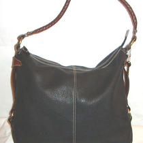 Pre-Loved Xtra Large Black & Brown Leather Fossil Tote /shopper/handbag/purse Photo