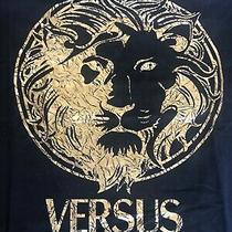 Pre Men Versace Versus Black S / M Big Medusa Gold Head Tshirt Cotton Made Italy Photo