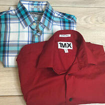 Pre Owned 2 Express Mens Fitted/slim Fitted Shirts Size Xs/tp Plaid 13-13 1/2