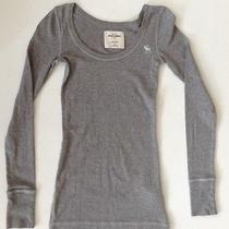 Pre-Owned Abercrombie Kids Girls Teens Gray Stretch Long Sleeve Tee Top Size M Photo