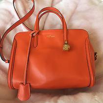 Pre-Owned Authentic Alexander Mcqueen Padlock Leather Small Satchel Bag-Orange Photo