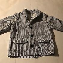 Pre-Owned Baby Gap Blue White Striped Seersucker  Blazer Jacket Sz 6-12 Mths Photo