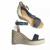 Pre Owned Cabi Parker Wedge Espadrille Sandal Blue/white Size 8 Photo