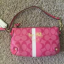 Pre-Owned - Coach Heritage Stripe Wristlet -   Pink W/ White and Pink Stripe Photo
