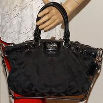 Pre-Owned Coach Purse Sophia 1182-18650 Black Sateen Op Art  Red Velvet Inside Photo
