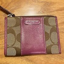 Pre Owned Coach Skinny Mini Wallet Card Case Key Ring Pink Photo
