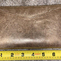 Pre Owned Fossil Leather Sydney Zip Clutch Champagne Wallet Gold Photo