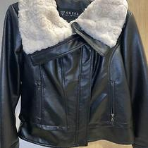 Pre-Owned Guess Faux Leather Black Jacket With Faux White Fur Collar Size Xl Photo