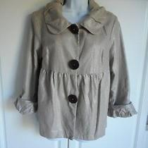 Pre-Owned Kensie Jacket Size 10 Gray Shiny Silver Sparkles Pleated Puff Arms Photo
