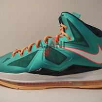 Pre-Owned Lebron X Sz 12 Dolphins Jade Area 72 Lava Prism Platinum What the Lot Photo
