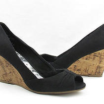 Pre Owned Rampage Peep Toe Wedges Black Size 7.5m  Photo