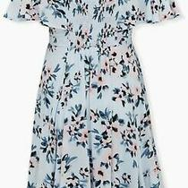 Pre-Owned Torrid Size 2 Light Blue Floral Handkerchief Dress Photo