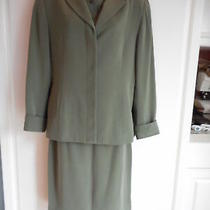 Pre-Owned Valerie Stevens 3 Piece Skirt Set Size 8 Olive Green Jacket Vest Skirt Photo
