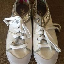Pre-Owned Women's White Guess Casual Shoes Silver Sequins10 Medium Ships Free Photo