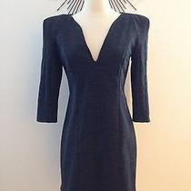 Pre-Owned Zara Grey Working Dress v-Neck Size S Women Dresses Photo