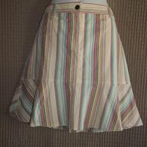 Precious Short Summer Apricot Aqua Yellow Stripe Ann Taylor Loft Skirt Sz 8 Photo