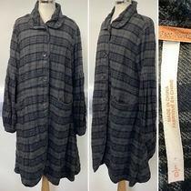 Preloved - Free People Grey & Navy Check Long Coat - Sz Large Photo