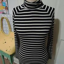 Premise by Theory (M) Simply Chic Black & White Striped Turtleneck Top  Photo
