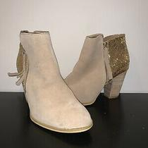 Preowned Aldo Gold Sparkly Tan High Heel Womens Juniors Boots Shoes Party Nice Photo