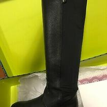 Preowned Authentic Tory Burch Selden Stretch Leather Black Riding Boots Sz 6 Photo
