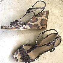 Preowned Bandolino Womens Wedges Brown Sequin With Animal Print Size 9 Photo