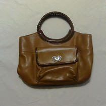 Preowned Fossil Woman's Handbag/ Brown Leather W/ Metal Heart Photo