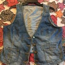Preowned Gap Woman Distressed Denim Vest Size L Photo