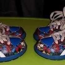 Preowned Marvel Super Hero Blue White Red Sz 5 Twins 2 Pairs Reebok Toddler Boys Photo