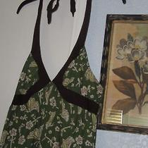 Preownedmossimo Whimsical Butterfly Floral on Green Maxi Halter Dress M  Photo