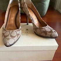Preowned Womens Coach Logo Brown Pumps Size 8 Photo