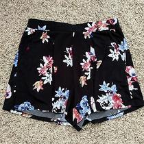 Preowned Womens Express Black Floral Flowy Shorts Size Xs Photo