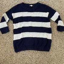 Preowned Womens Gap Navy and White Striped Knit Sweater Size Xs Photo