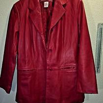 Preston and York Petites Genuine Lamb Skin Women Blazer Red Jacket Coat Size Pp  Photo