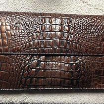 Preston & York Brown Copper Croc Leather Convertible Handbag Purse Clutch  Photo