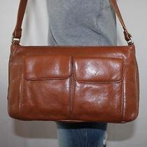 Preston & York Medium Brown Leather Shoulder Hobo Tote Satchel Slouch Purse Bag Photo